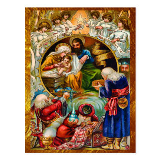 Golden Nativity Scene Postcard