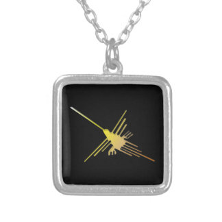 Golden Nazca Lines Hummingbird Silver Plated Necklace