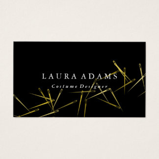 Golden Needles | Elegant Fashion Designer Business Card
