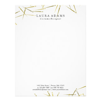 Golden Needles White | Elegant Fashion Designer Letterhead
