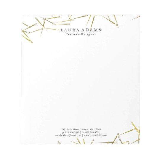 Golden Needles White | Elegant Fashion Designer Notepad