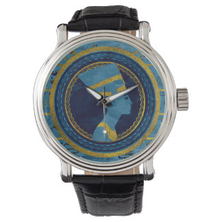 Golden Nefertiti on blue marble stone Watch