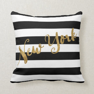 Golden New York Stripes Throw Pillow