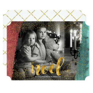 Golden Noel with Painted Brush Stroke|Custom Photo Card