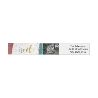 Golden Noel with Painted Brush Stroke|Custom Photo Wraparound Return Address Label