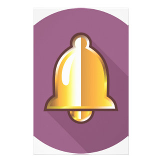 Golden Notification Bell Icon Stationery Paper