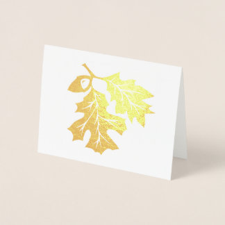 Golden Oak Leaves and Acorn Foil Card