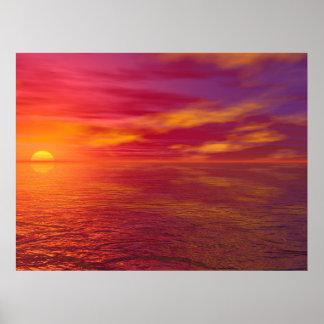 Golden Ocean Sunset Poster