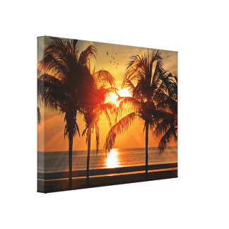 Golden Ocean Sunset with Palm Trees Canvas Print