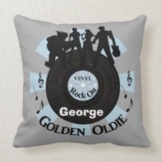 Golden Oldie Vinyl Records Rock On Personalized Throw Pillow