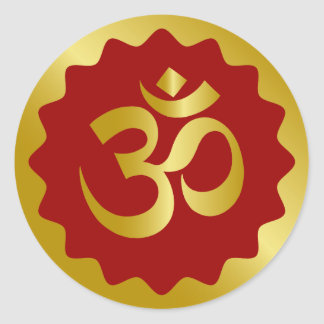 Golden Om Design Classic Round Sticker