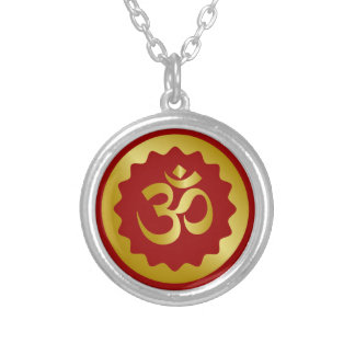 Golden Om Design Silver Plated Necklace