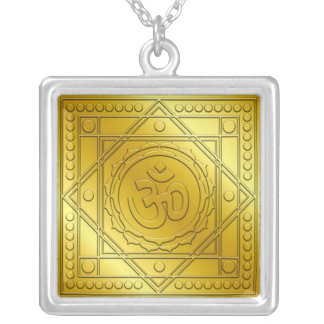 Golden Om Lotus Design Square Pendant Necklace
