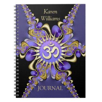 Golden Om Purple Fractal Lace Elegant Notebook