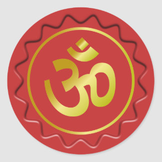 Golden Om Sign Red Wax Seal