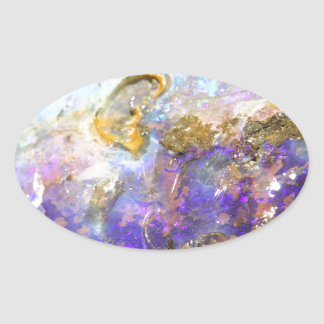 Golden Opal Oval Sticker