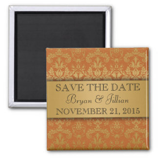 Golden Orange & Gold Regal Damask Save the Date Magnet