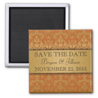 Golden Orange & Gold Regal Damask Save the Date Fridge Magnets