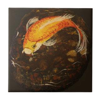 Golden Orange Koi Fish Tile