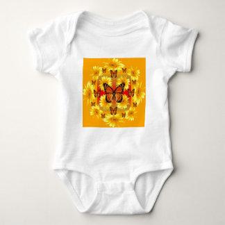 GOLDEN ORANGE MONARCH BUTTERFLIES & SUN FLOWERS BABY BODYSUIT