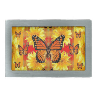 GOLDEN ORANGE MONARCH BUTTERFLIES & SUN FLOWERS BELT BUCKLE