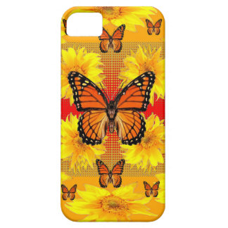 GOLDEN ORANGE MONARCH BUTTERFLIES & SUN FLOWERS CASE FOR THE iPhone 5