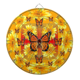 GOLDEN ORANGE MONARCH BUTTERFLIES & SUN FLOWERS DARTBOARD