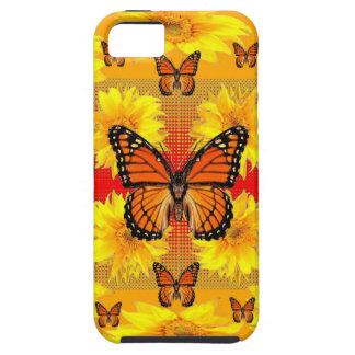 GOLDEN ORANGE MONARCH BUTTERFLIES & SUN FLOWERS iPhone 5 CASE