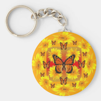GOLDEN ORANGE MONARCH BUTTERFLIES & SUN FLOWERS KEYCHAIN