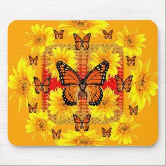 GOLDEN ORANGE MONARCH BUTTERFLIES & SUN FLOWERS MOUSE PAD