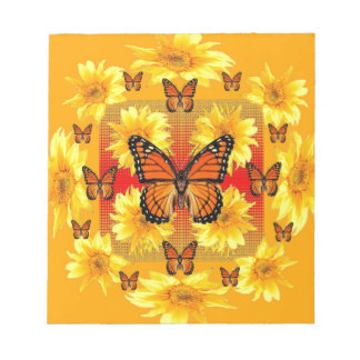 GOLDEN ORANGE MONARCH BUTTERFLIES & SUN FLOWERS NOTEPAD