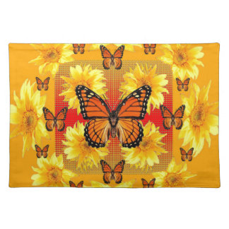GOLDEN ORANGE MONARCH BUTTERFLIES & SUN FLOWERS PLACEMAT