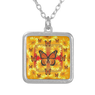 GOLDEN ORANGE MONARCH BUTTERFLIES & SUN FLOWERS SILVER PLATED NECKLACE