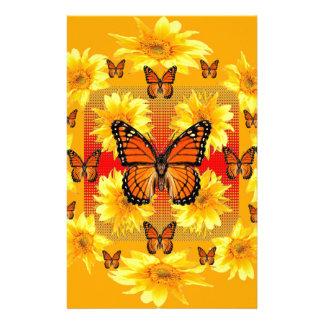GOLDEN ORANGE MONARCH BUTTERFLIES & SUN FLOWERS STATIONERY