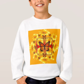 GOLDEN ORANGE MONARCH BUTTERFLIES & SUN FLOWERS SWEATSHIRT