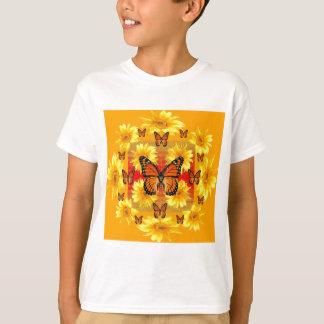GOLDEN ORANGE MONARCH BUTTERFLIES & SUN FLOWERS T-Shirt