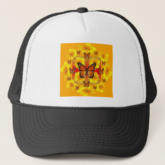 GOLDEN ORANGE MONARCH BUTTERFLIES & SUN FLOWERS TRUCKER HAT