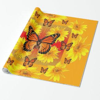 GOLDEN ORANGE MONARCH BUTTERFLIES & SUN FLOWERS WRAPPING PAPER