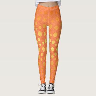 Golden Orange Peach Metallic Shiny Dots Polka Leggings