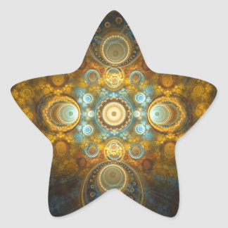 Golden oriental design star sticker