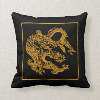 Golden oriental dragon 01 throw pillow