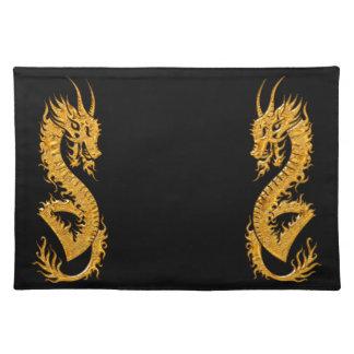 Golden oriental dragon 02 place mat