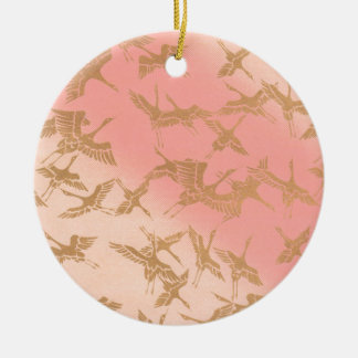 Golden Origami Crane Ceramic Ornament
