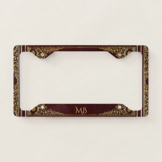 Golden Ornamental on Brown with Initials License Plate Frame