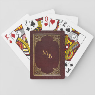 Golden Ornamental on Brown with Initials Poker Deck