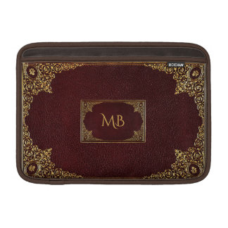Golden Ornamental on Brown with Initials Sleeve For MacBook Air