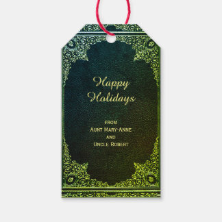 Golden Ornamental on Green (customizable) Gift Tags