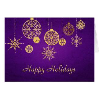 Golden Ornaments Against Deep Purple Card