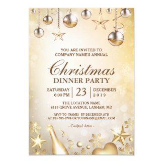 Golden Ornaments Christmas Corporate Holiday Party Card