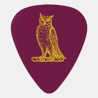 Golden Owl Crest Letterpress Style Guitar Pick
